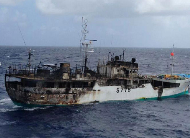 Fishing vessel on fire near Seychelles