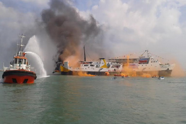 Passenger cargo vessel catches fire in North Maluku, Indonesia
