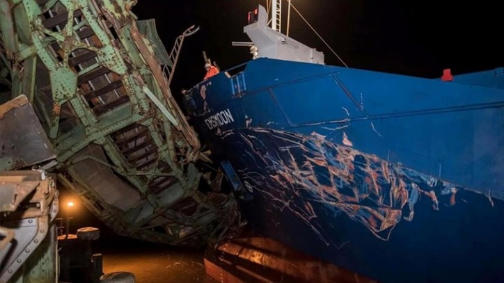 General cargo ship Emsmoon damaged after allision with EMS bridge in Papensburg, Germany on December 3, 2015