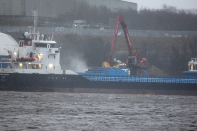 Fire on Dutch cargo ship Marit in Londonderry, UK