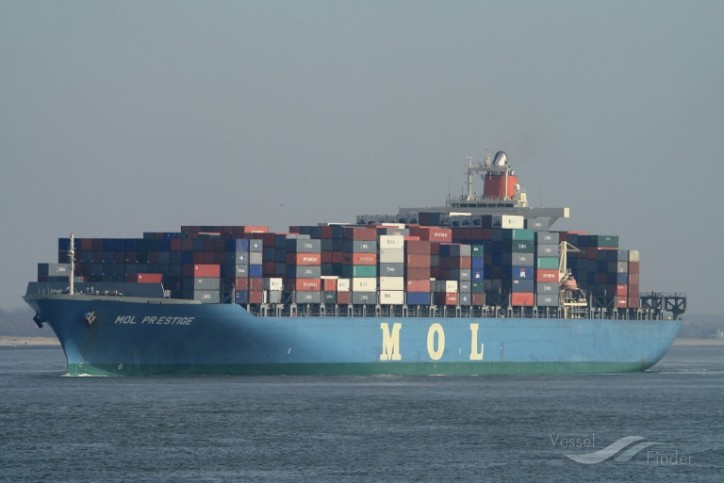 Containership MOL Prestige adrift off Haida Gwaii after engine fire; Two crewmembers airlifted