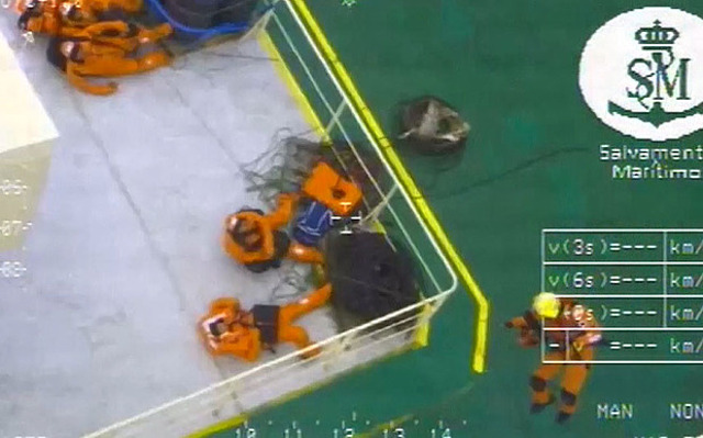 WATCH: Crew of 22 sailors airlifted from Modern Express listing in rough seas