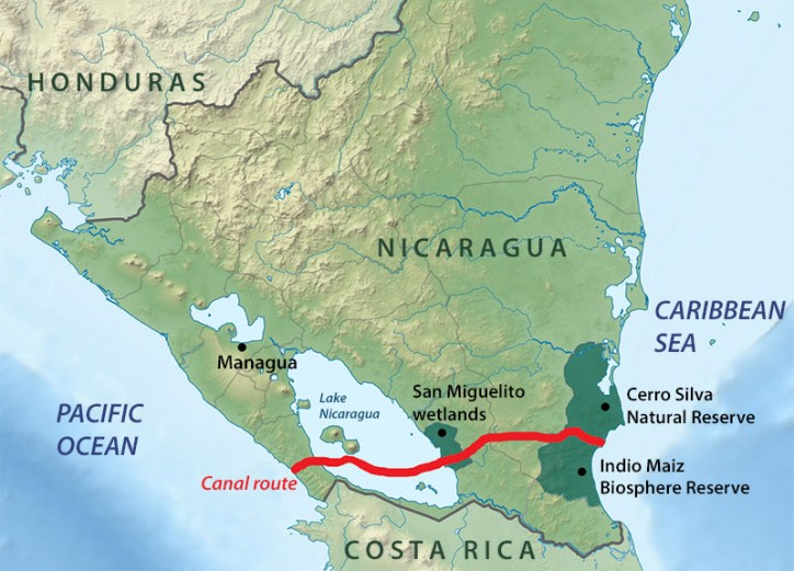 Map of Nicaragua Canal Project