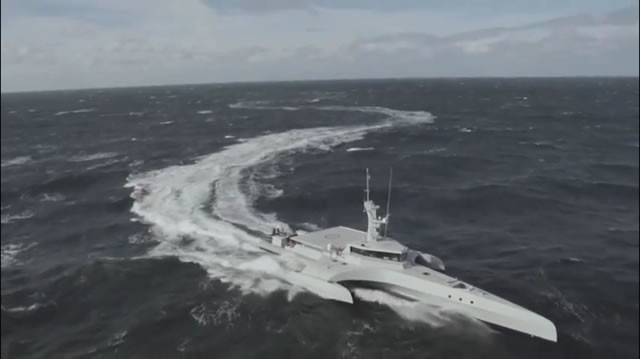 CMN's Ocean Eagle 43 Trimaran Patrol Vessel Demonstrating Seakeeping in Sea State 5