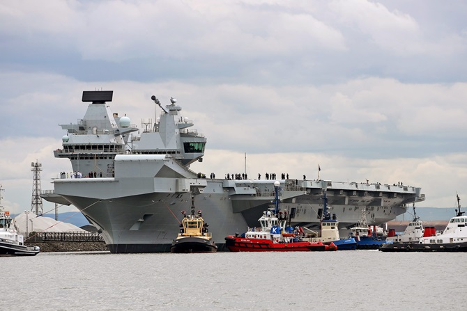 HMS Queen Elizabeth sails for the first time