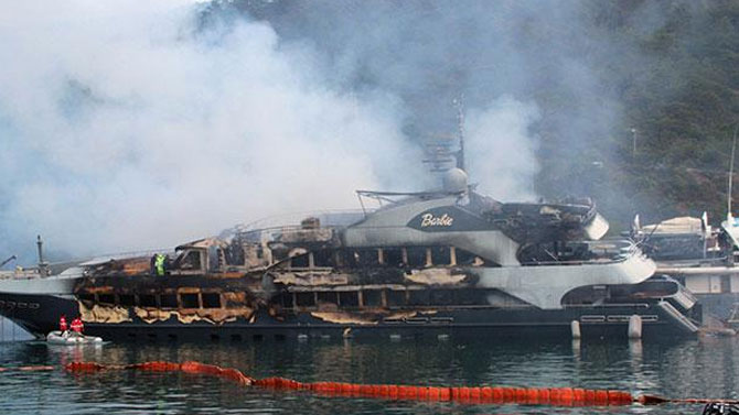 Luxury yachts gutted by fire at Mediterranean resort in Turkey (Video)