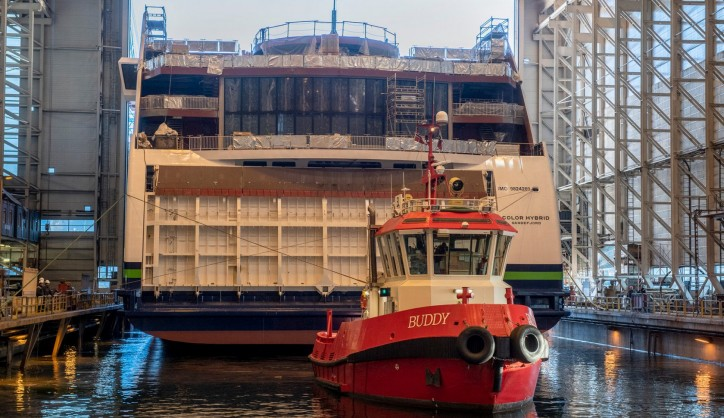 Spotted: Plug-in hybrid vessel Color Hybrid launched from the dock hall at Ulstein Verft