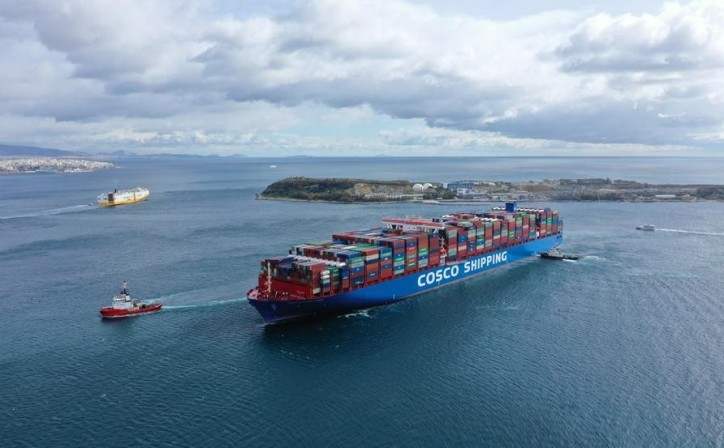 One of world's largest container ships docks at Port of Piraeus, Greece