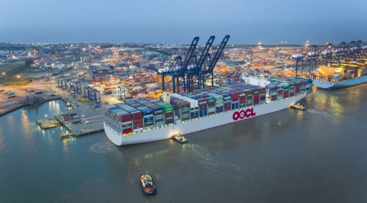 The world's largest containership, the 21,413TEUs OOCL Hong Kong, has made its maiden call at Hutchison Ports Port of Felixstowe