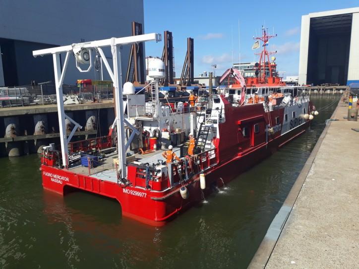 Maintenance and repair for 'Fugro Mercator' at Damen Shiprepair Harlingen (Video)