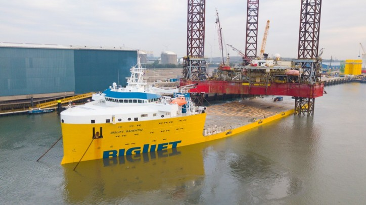 BigLift Barentsz transports an 11,700mt jack-up platform (Video)