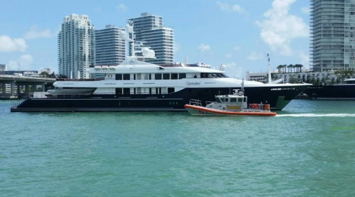 Luxury yacht aground near Miami Beach