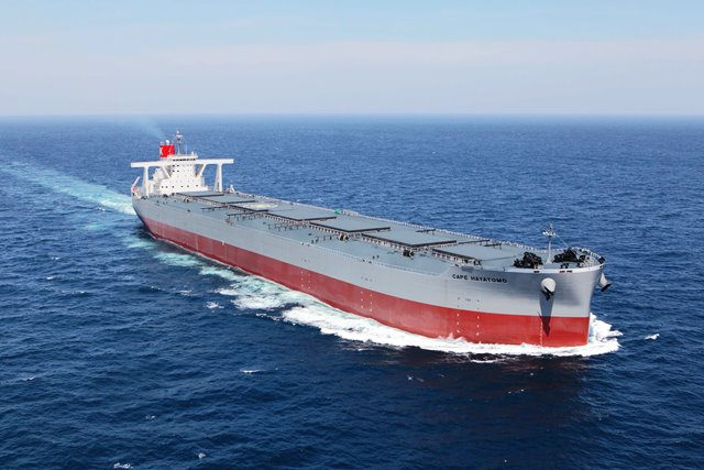 K-Line Takes Delivery of 250,000-dwt Ore Carrier CAPE HAYATOMO From Namura Shipbuilding