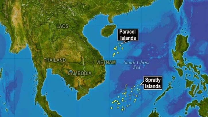 Spratly islands and disputed waters in the South China Sea