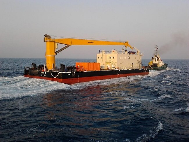 Damen Delivers Crane Barge And Anti-Pollution Barge to Bimco