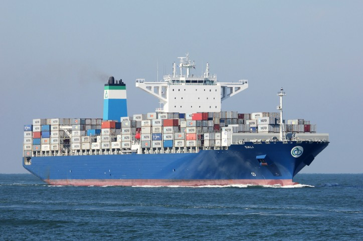 Mega container ship Dali Allided with berth at Port of Antwerp