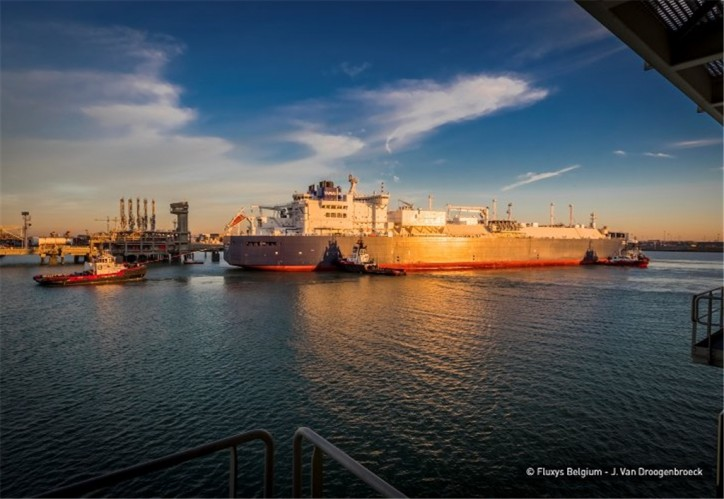 Ice class LNG carrier, Christophe de Margerie docked at the Zeebrugge liquefied natural gas (LNG) terminal