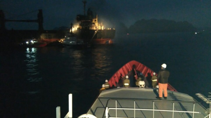 VMRCC rescue teams trying to extinguish fire on board bulker South Star in Tonkin Bay, Vietnam on Feb 2, 2016.