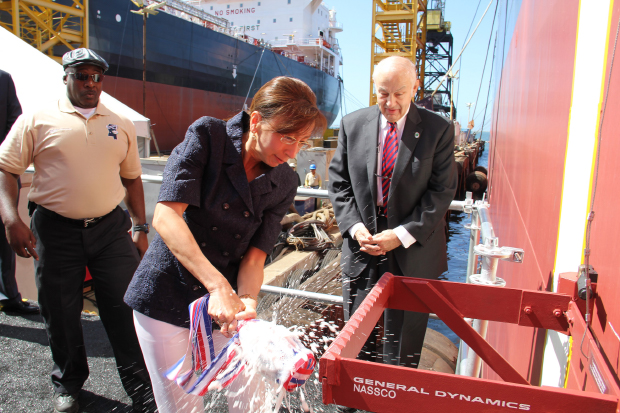General Dynamics NASSCO hosted a christening ceremony for the second ECO Class tanker for American Petroleum Tankers (APT) under construction at the company's shipyard in San Diego - Apr 23, 2016.