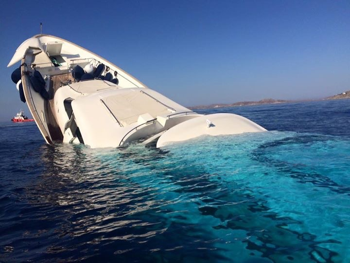 Super-yacht sinking off Mykonos, Greece