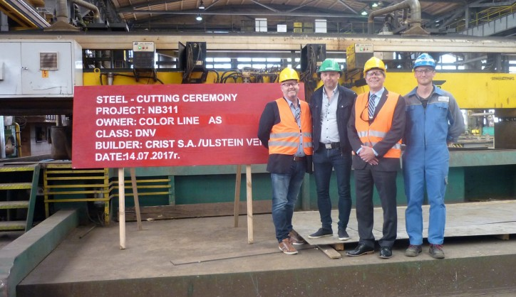 Steel Cutting Ceremony Of The World's Largest Plug-In Hybrid Vessel