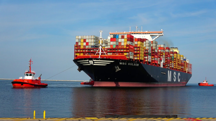 World's Largest Container ship MSC Gulsun arrives at the Port of Rotterdam