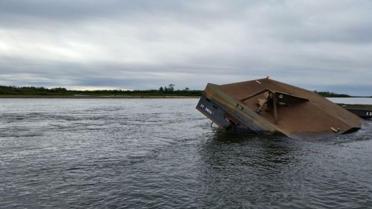 Motor vessel and barge sink near Kokwok, Alaska
