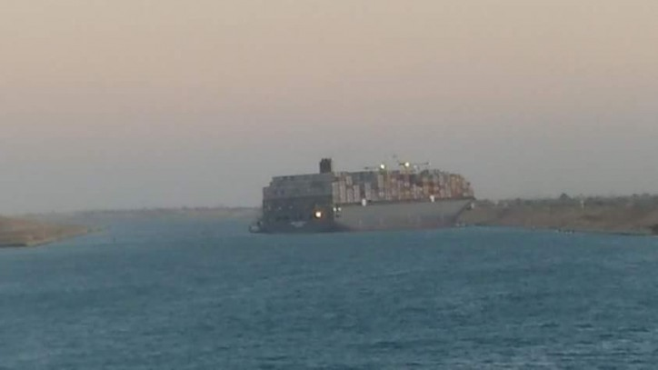 Container Ship MSC Fabiola hard aground in Suez Canal