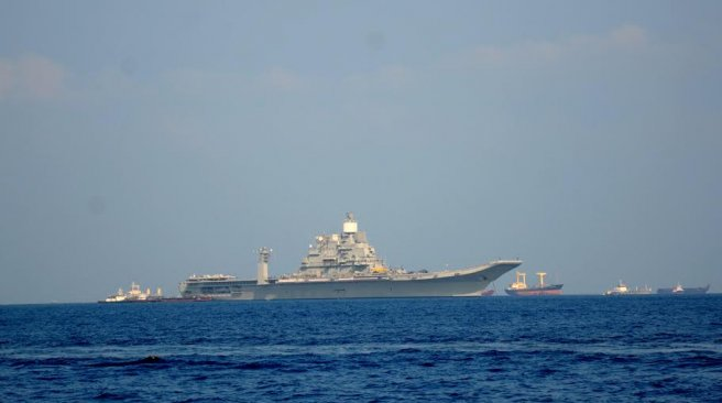 Upon the arrival of INS Vikramaditya,along with its accompanying vessels, the Maldives National Defence Force has warned all local vessels to maintain 1 mile distance from the ships at all times.