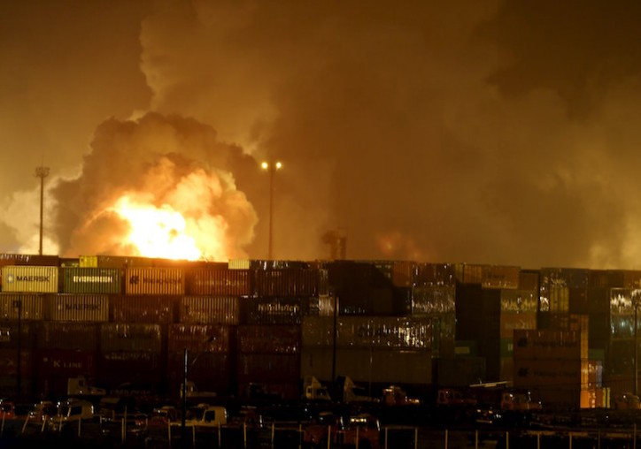 Chemical container blaze restricts Brazil's Santos port