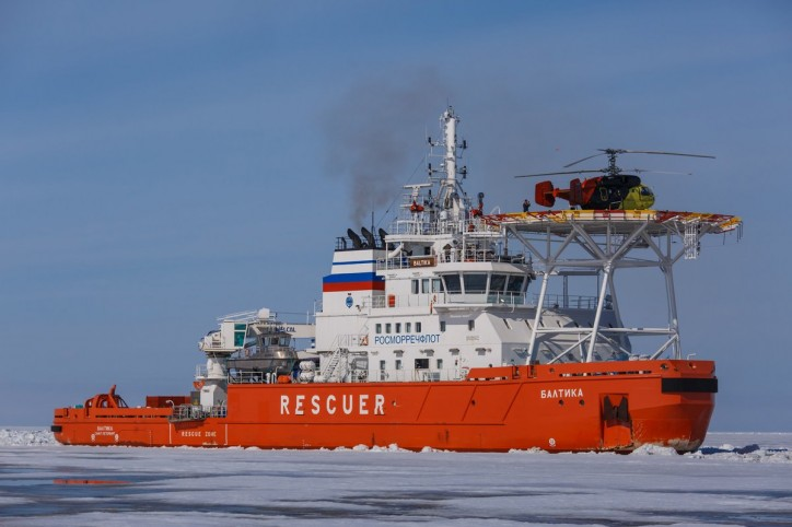 Oblique icebreaker Baltika breaks ice in the Arctic