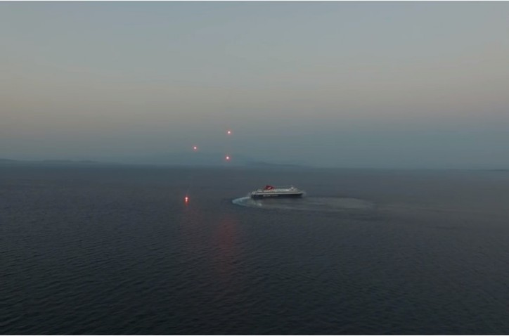 Video: RoPax Nissos Mykonos salutes with fireworks in Chios, Greece