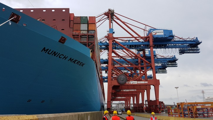 Maiden call of 2nd Generation Triple-E vessel Munich Maersk to Hamburg