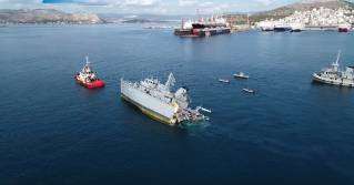 Greek navy minesweeper Kallisto damaged after collision with containership Maersk Launceston