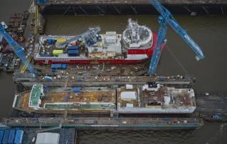 Royal Niestern Sander shipyard installed a new aft ship on the passenger ship Münsterland