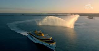 WATCH: Austal Australia farewells Bajamar Express including Water Salute by Svitzer