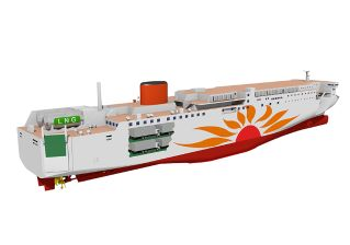 Mitsubishi Shipbuilding Signed a Contract with MOL for the First LNG-Fueled Ferry Built in Japan