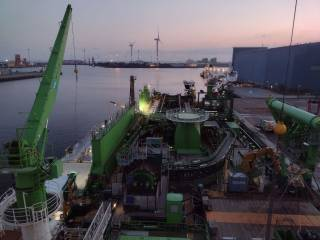DEME's cable installation vessel Living Stone bunkered with LNG for the first time