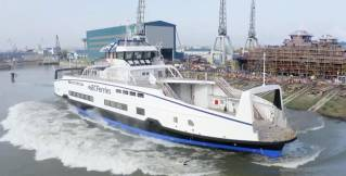 BC Ferries' third battery-electric hybrid vessel launches at Damen Shipyard (Video)