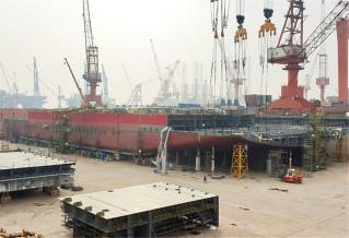 Spotted: Building of OHT offshore wind foundation installation vessel Alfa Lift in progress