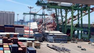 WATCH: Massive container crane collapse at Kaohsiung port