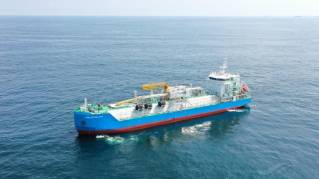K-LINE commenced technical management of Singapore's first LNG Bunkering Vessel FUELNG BELLINA