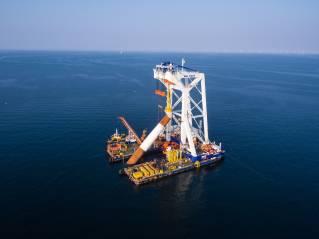 Van Oord's heavy lift installation vessel Svanen has arrived at Kriegers Flak wind farm