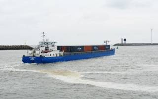 Estuary container shipping on the rice in Zeebrugge