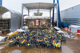 Seaspan Shipyards hosts ceremonial keel laying for the Royal Canadian Navy's future Joint Support Ship