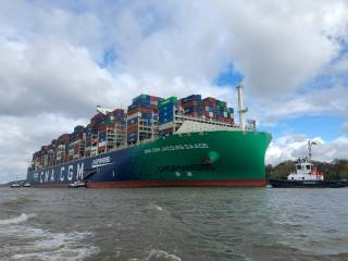 Containership CMA CGM Jacques Saadé First Megamax to pass Elbe's improved draft