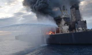 VLCC New Diamond catches fire in Sri Lankan waters (Video)