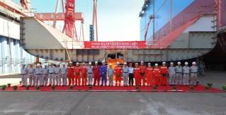 Hudong-Zhonghua Shipbuilding held keel-laying ceremony for MOL's 2nd large LNG bunkering vessel