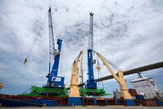 Two new mobile cranes delivered to the Port of Savannah's Ocean Terminal