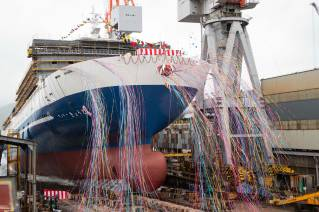 Mitsubishi Shipbuilding Holds Christening and Launch Ceremony in Shimonoseki for Large Ferry Built for Meimon Taiyo Ferry